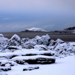 Snow Covered Hestan from Rockcliffe Beach